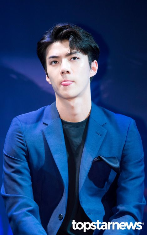 Sehun - 160608 Third Regular Album 'EX'ACT' comeback press conference Credit: TopStarNews. (정규 3집 '이그잭트' 컴백 기자회견)