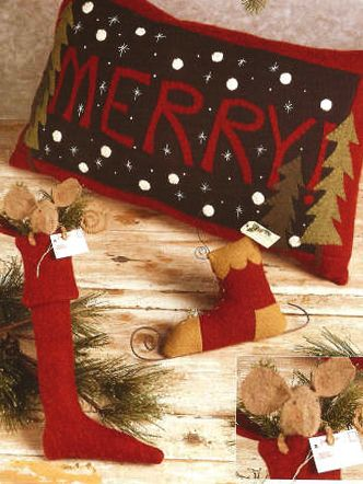 """A fun collection of designs, this is a kit for the fun Merry Pillow pillow.   Includes the woolfelt and pattern to complete the pillow as shown.       The pattern is a Collection of whimsical folk art for decorating """"All through the house"""" - includes pillow, skate hanger and stocking with mouse instructions."""