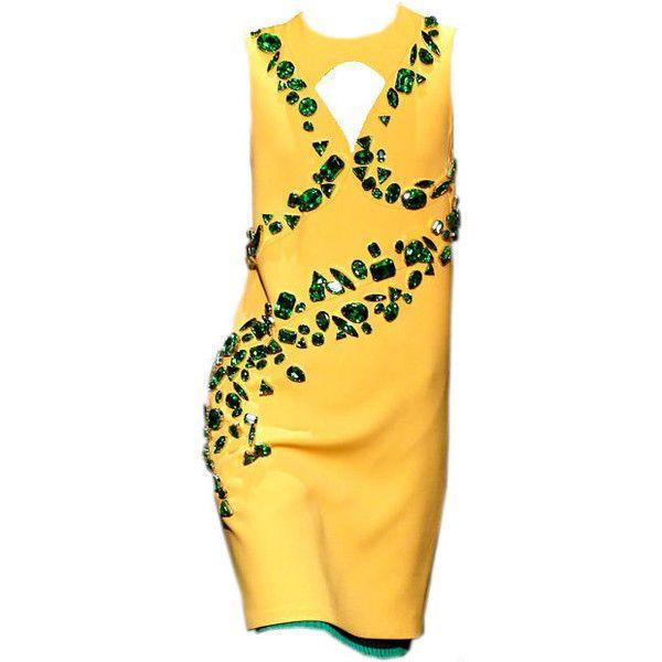 Prada S/S 2014 - @mrekulli ❤ liked on Polyvore featuring dresses, edit, prada, prada dresses and yellow dress