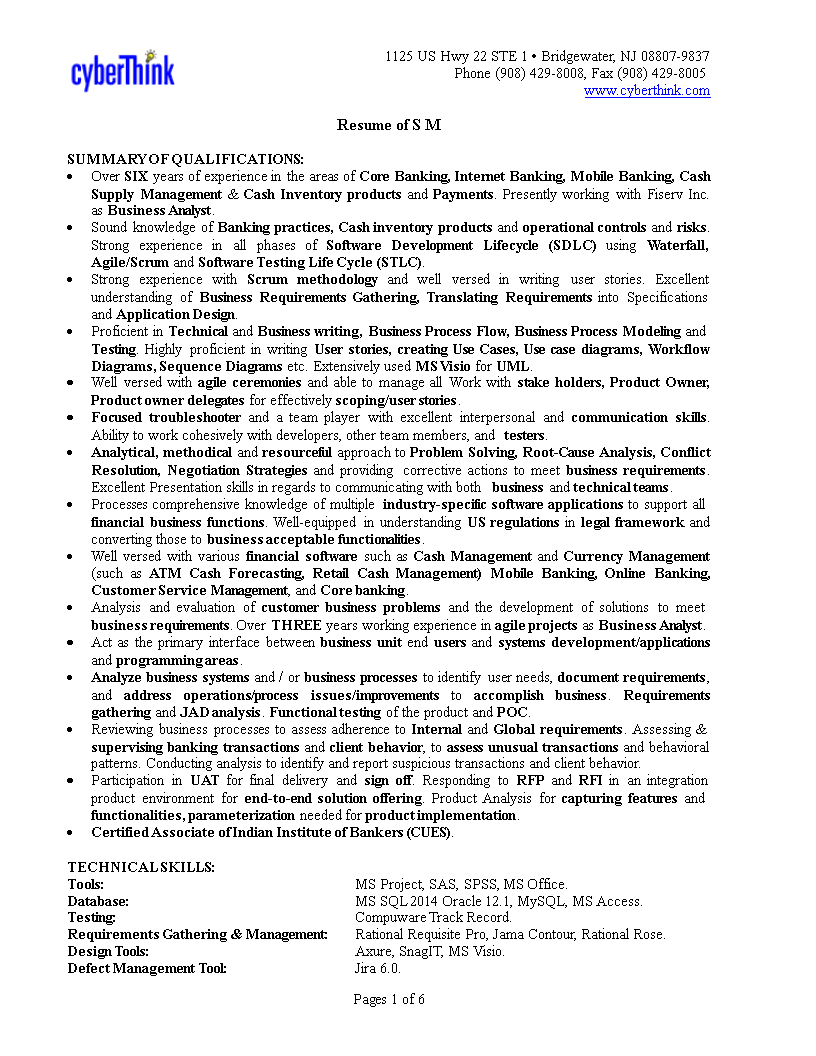 Retail Banking Business Analyst Resume How to create a
