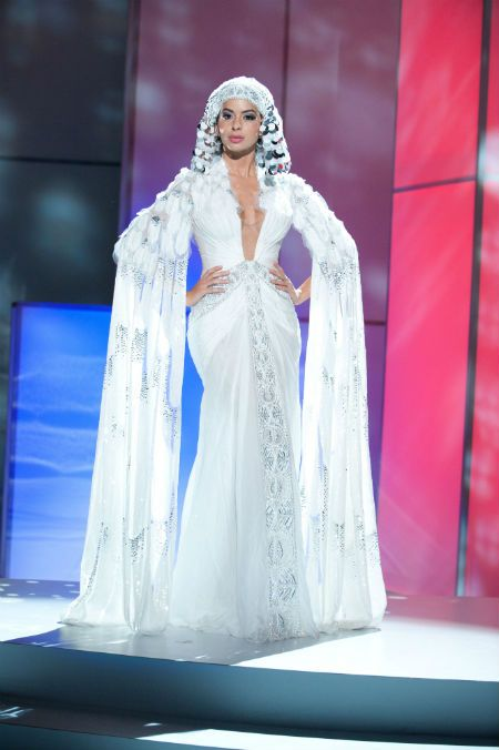 Miss Egypt, Miss Universe 2011. Light blue. headpiece
