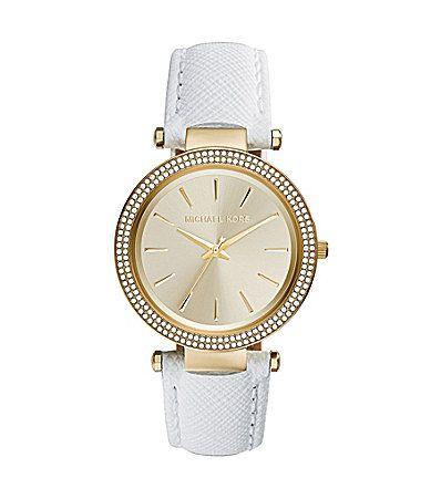 Michael Kors Ladies Darci White Leather Watch #Dillards