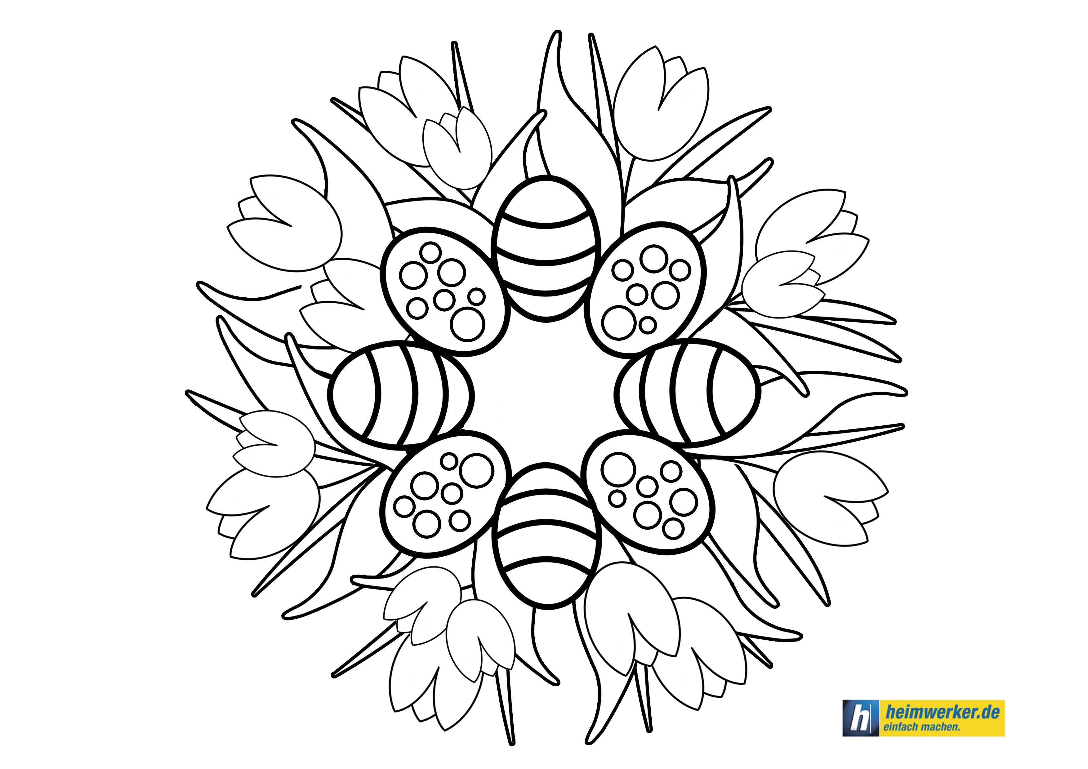 Ausmalbild Osternest Easter nest coloring page ...