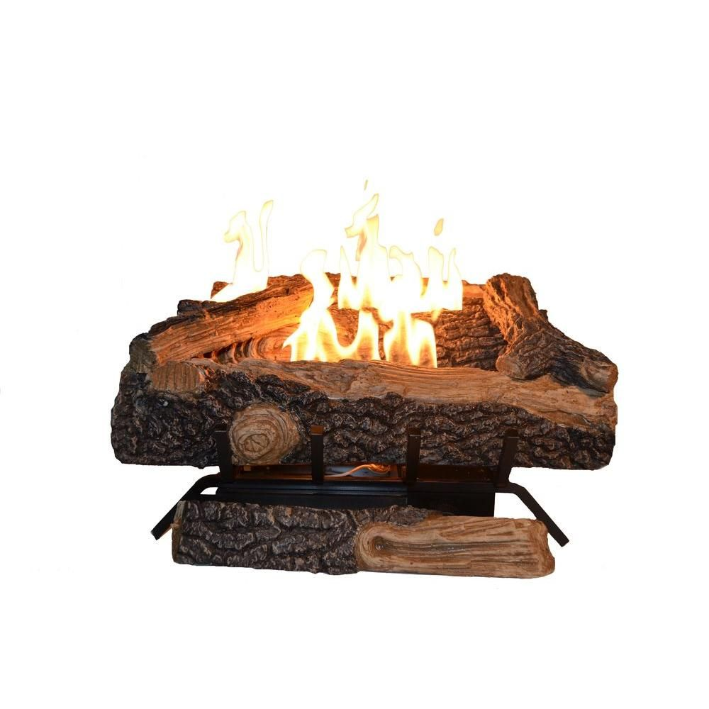 Emberglow Oakwood 24 In Vent Free Natural Gas Fireplace Logs Ovm21ng The Home Depot Gas Fireplace Logs Fireplace Logs Natural Gas Fireplace