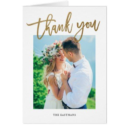 Modern Calligraphy Photo Thank You Note Card  Wedding Thank You