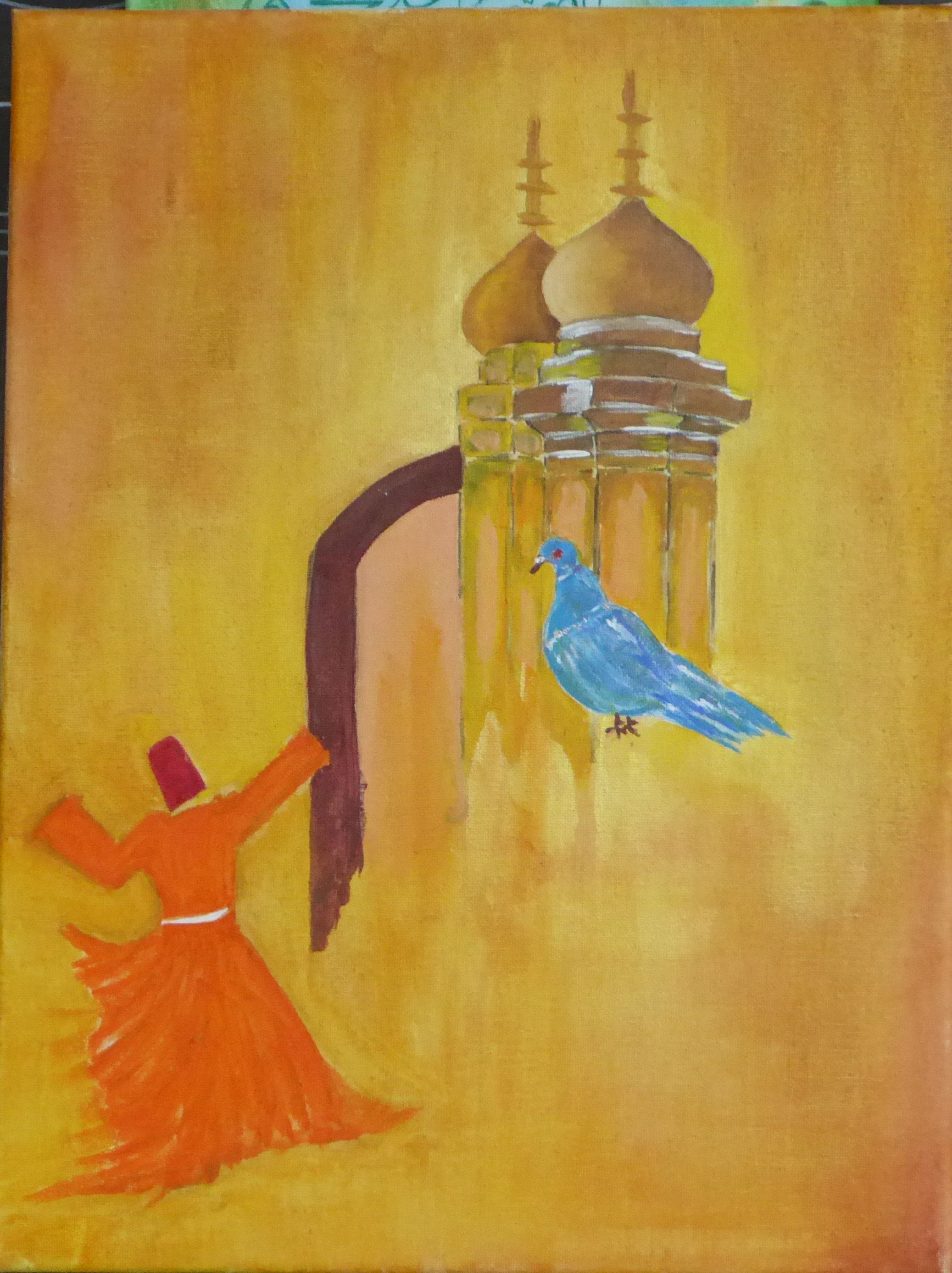 Ashon Qazi 12x16 Acrylic On Canvass Mosque Dome Derwaish Pigeon