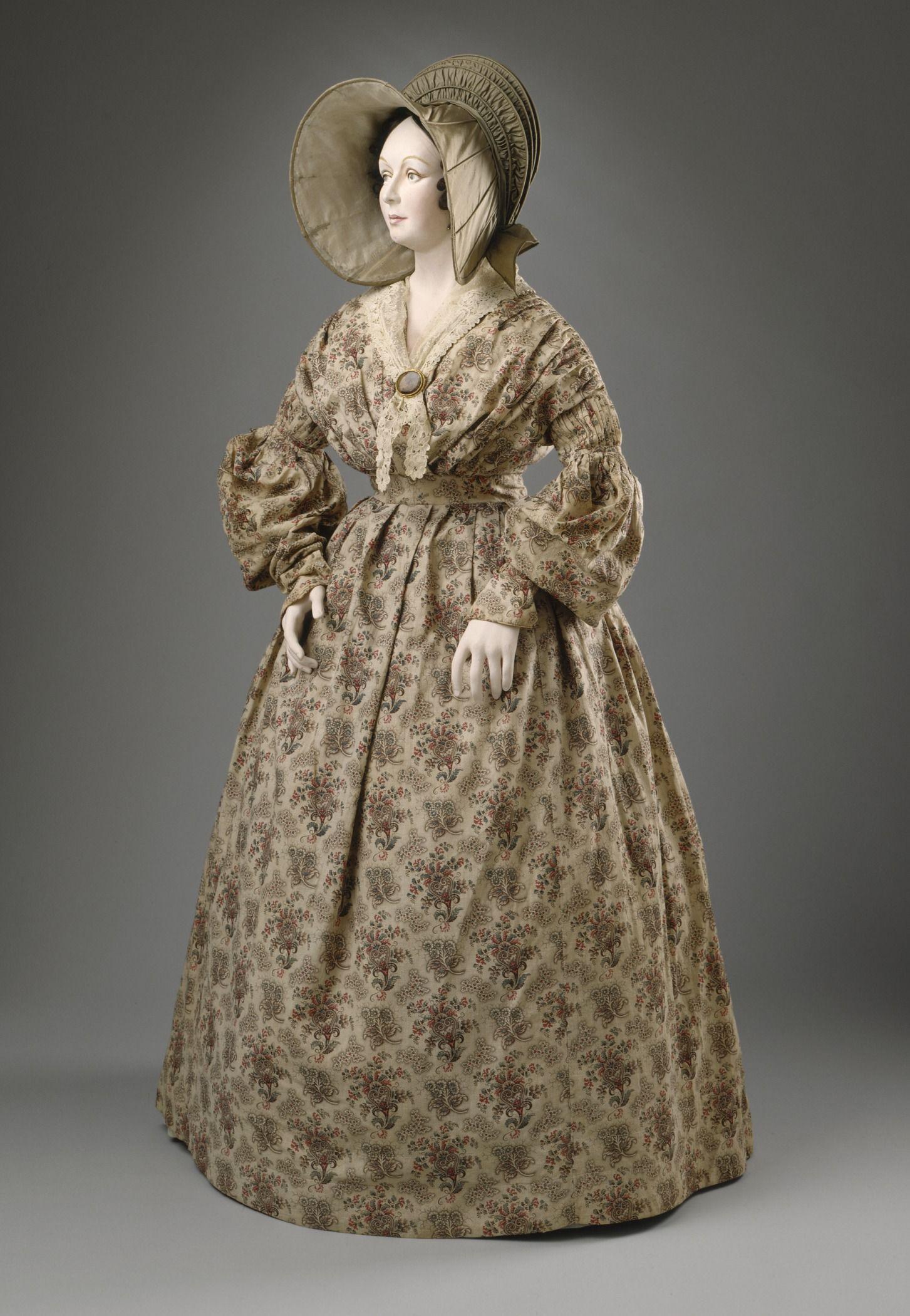 Dress: ca. 1836-1837, English, roller-printed cotton calico.