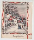 Vintage Old Fashion People in Town Christmas Greeting Card