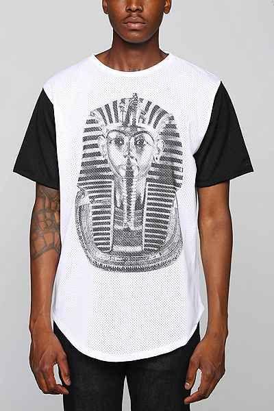 FUN Artists Pharaoh Mesh Curved Hem Tee - Urban Outfitters