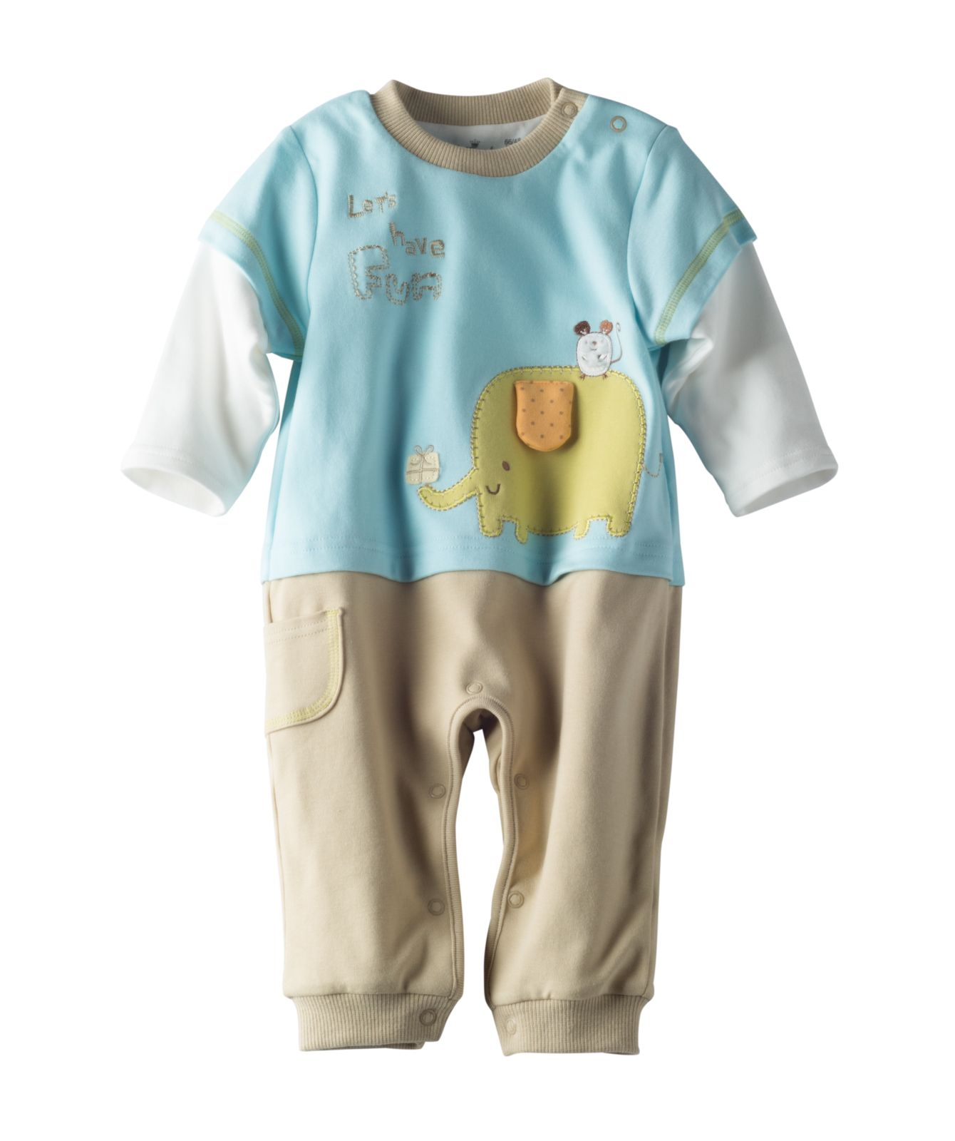 Every elephant needs a friend and this adorable one piece outfit is