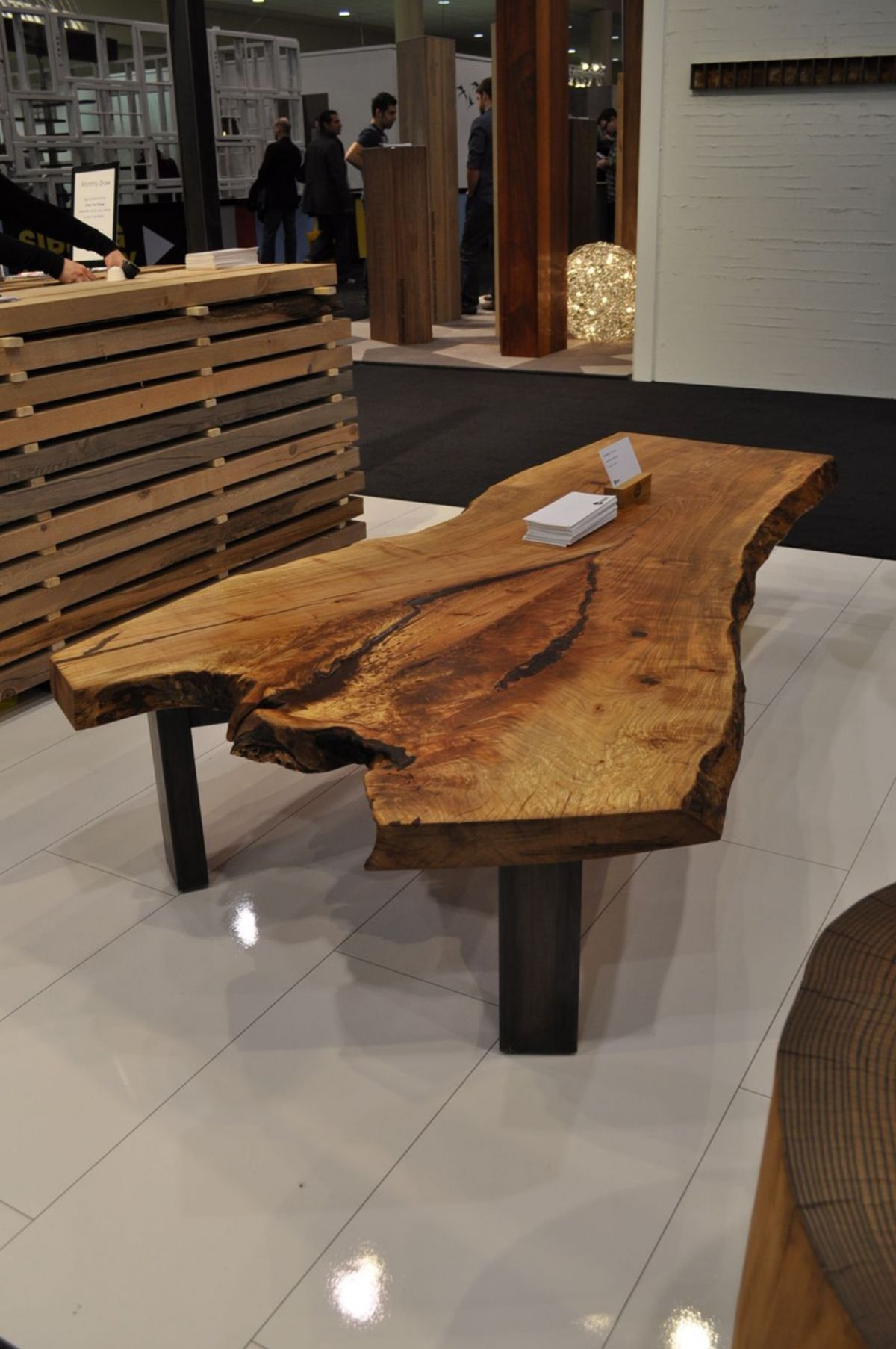 Minimalist natural wooden salvaged table