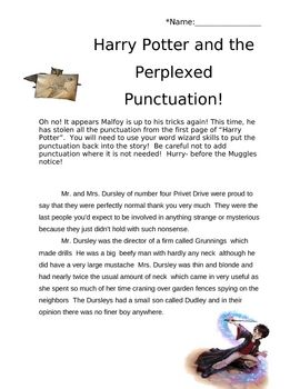 harry potter themed punctuation activity the punctuation is missing from a harry potter themed. Black Bedroom Furniture Sets. Home Design Ideas