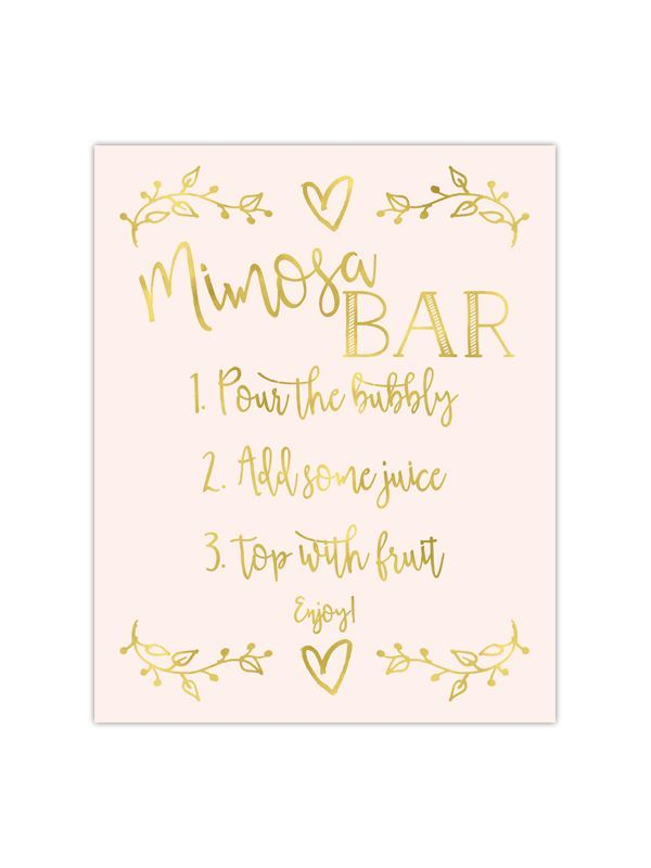 Gold foil printed Mimosa Bar sign - perfect for weddings, bridal ...