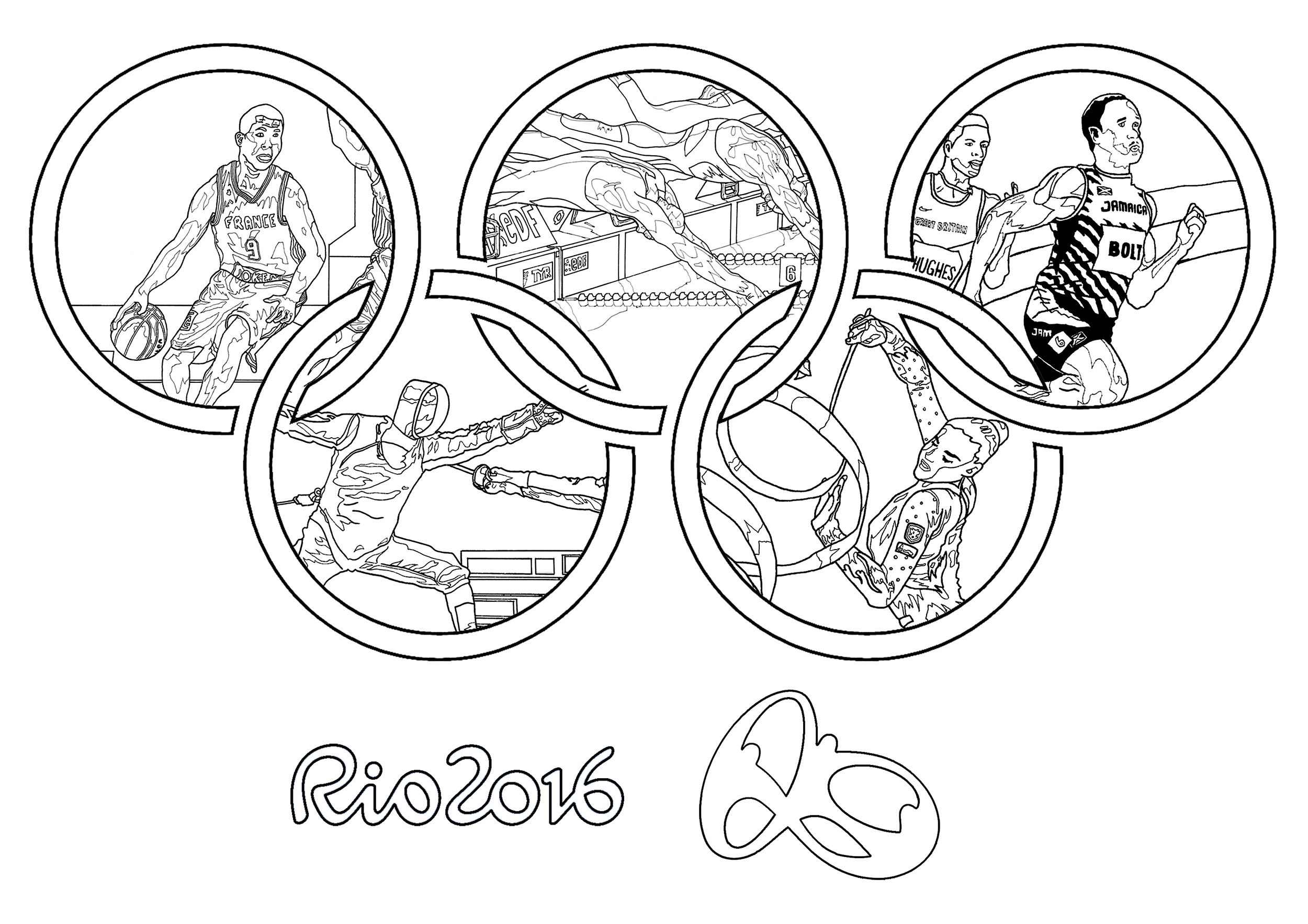 Free Coloring Page Coloring Adult Rio Olympic Games