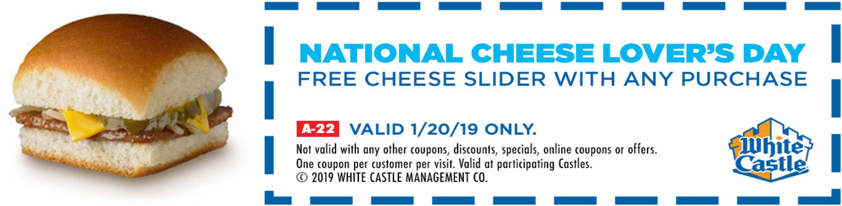 White Castle Coupons Shopping Deals Shopping Coupons White Castle Coupons National Cheese Lovers Day