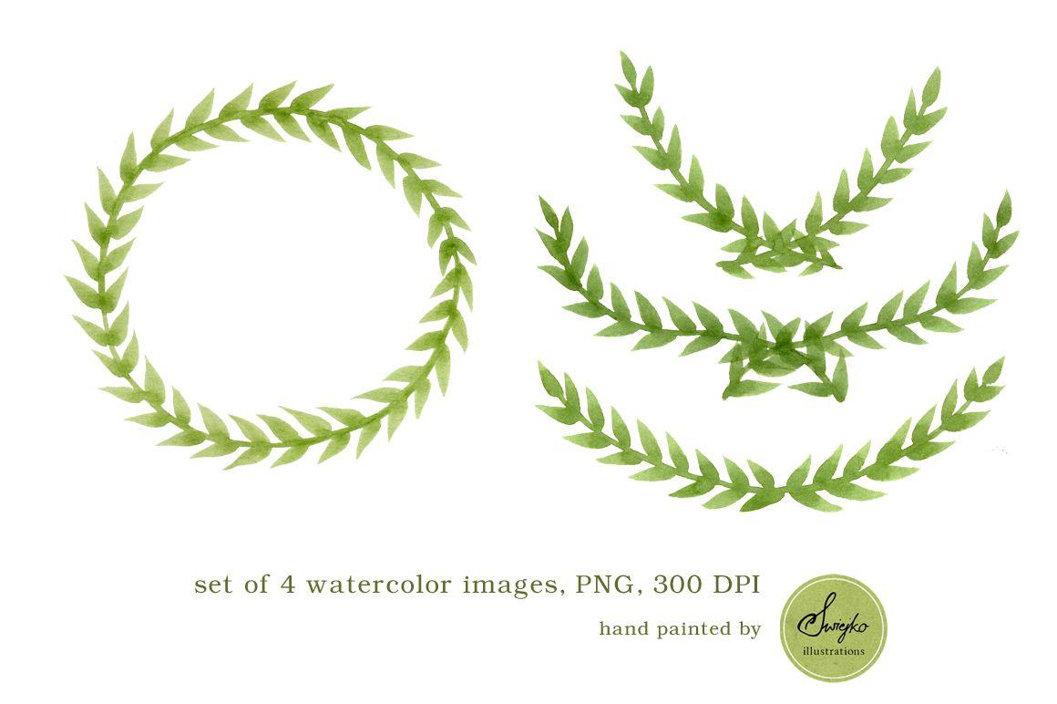 Watercolor frames foliage laurel wreath christmas for Watercolor greenery