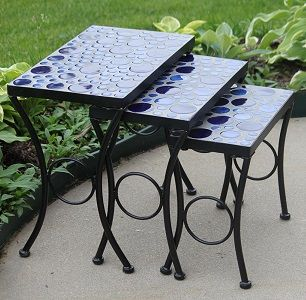 Cement Outdoor Nesting Side Tables With Blue Mosaic Design (Set Of 3)