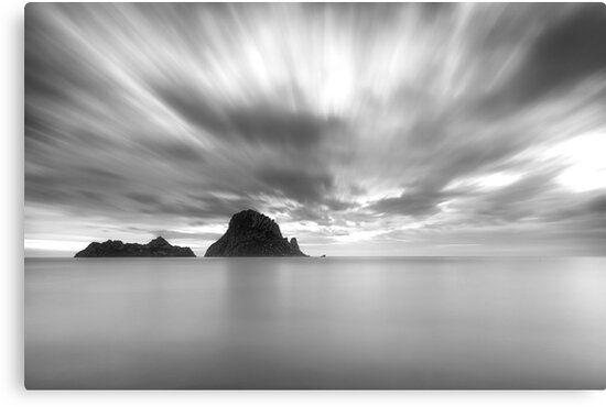 Lienzo en blanco y negro de la isla de Es Vedrá