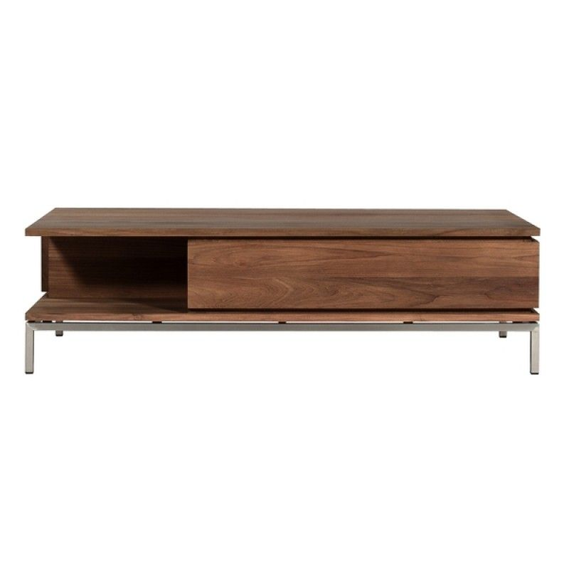 Table Basse Teck Essential Ethnicraft Carree 2 Tiroirs 1 Table Basse Teck Table De Salon Table Basse