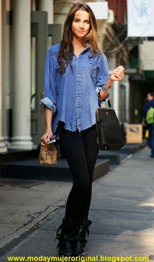moda estilo maquillaje mujer ropa zapatos venta combinar una camisa vaquera en invierno