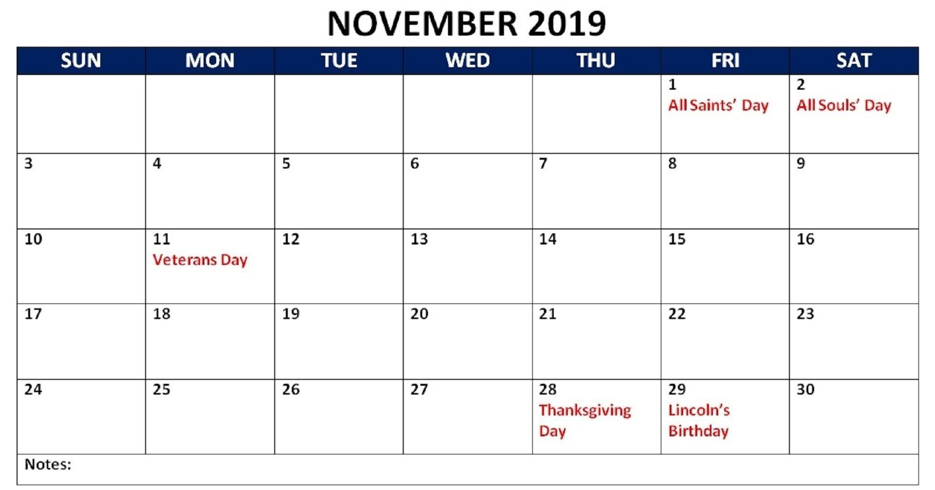 Best 25 November 2019 Calendar With Holidays Printable Free