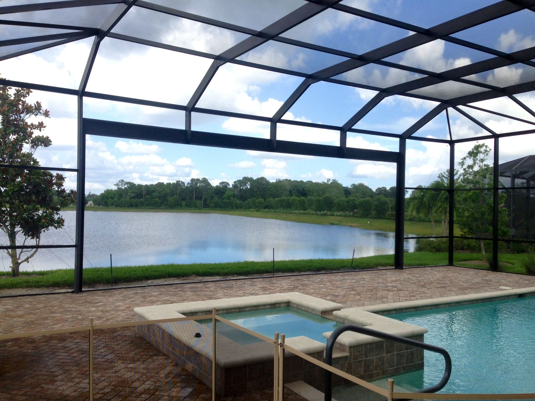 Beautiful picture window with images screened pool