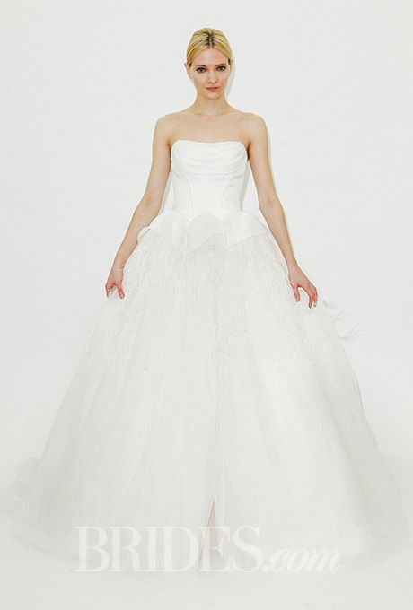 Brides.com: . Strapless ball gown wedding dress with a peplum skirt detail, Truly Zac Posen