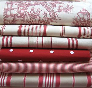 Beautiful raspberry red toile, ticking and spot fabric