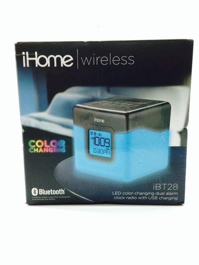 iHome Bluetooth LED Color Changing Dual Alarm Clock FM Radio Speaker ...