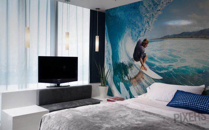 Fresh Summer Decorating Trend Surf Themed Wall Murals in Bedrooms