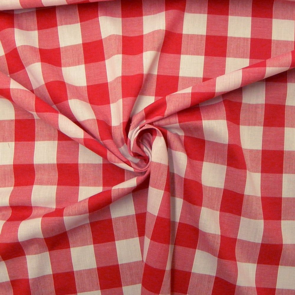 Dark Pink /& White Check 65/% Poly 35/% Cotton Gingham Fabric