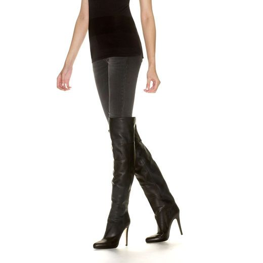 a1a9ec0418d3 Jimmy Choo Black Grainy Calf Leather Over the Knee Boots Giselle 120mm