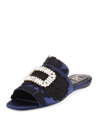 Strass-Buckle+Macramé+Slide+Sandal,+Black/Blue+by+Roger+Vivier+at+Neiman+Marcus.