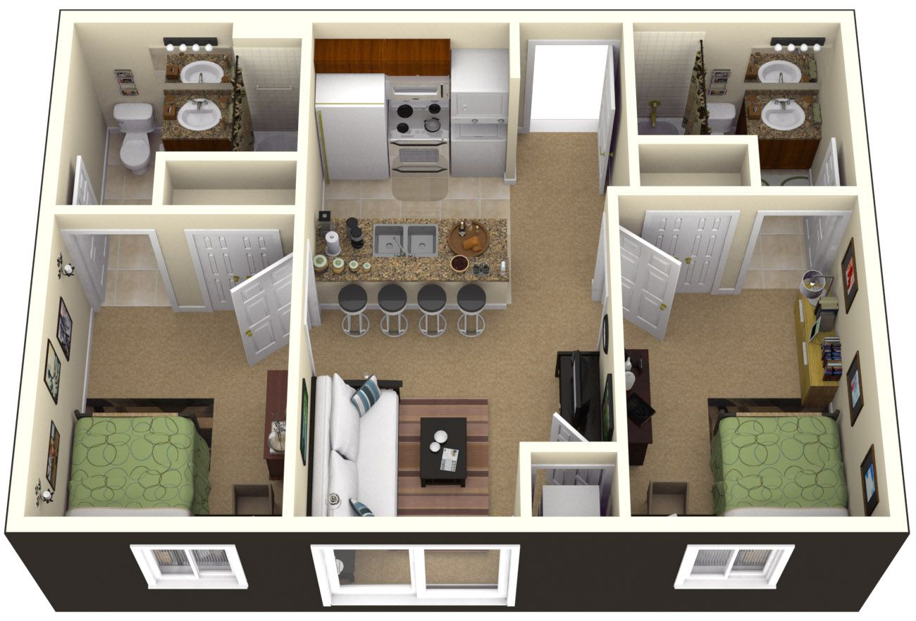 One bedroom house plans 3d google search home sweet for Simple two bedroom apartment design