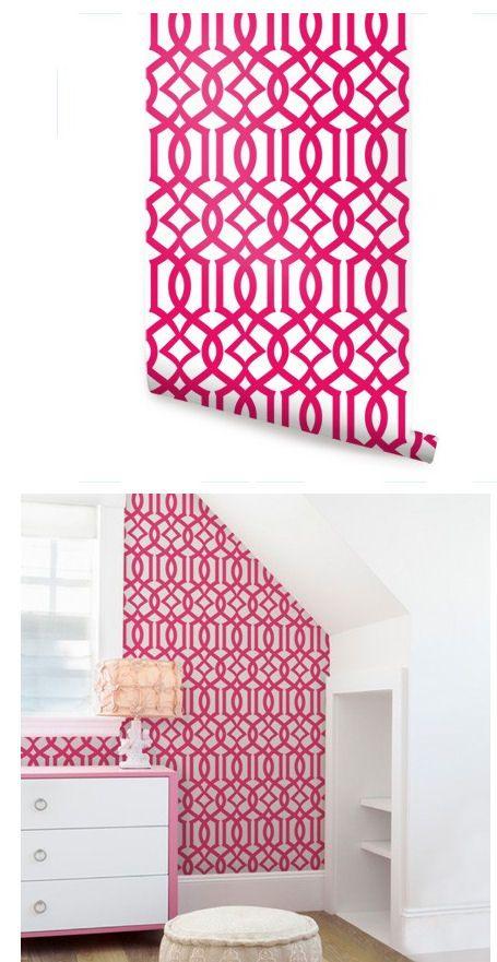 Modern Trellis Hot Pink Peel and Stick Wallpaper - Wall Sticker ...