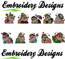 Ladybugs pocket toppers designs 10 Set - Machine Embroidery Designs