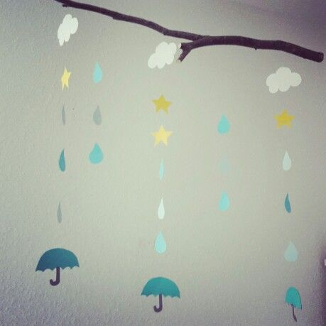 Perfect  DIY mobile kidsroom kinderzimmer basteln regentropfen sterne wolken