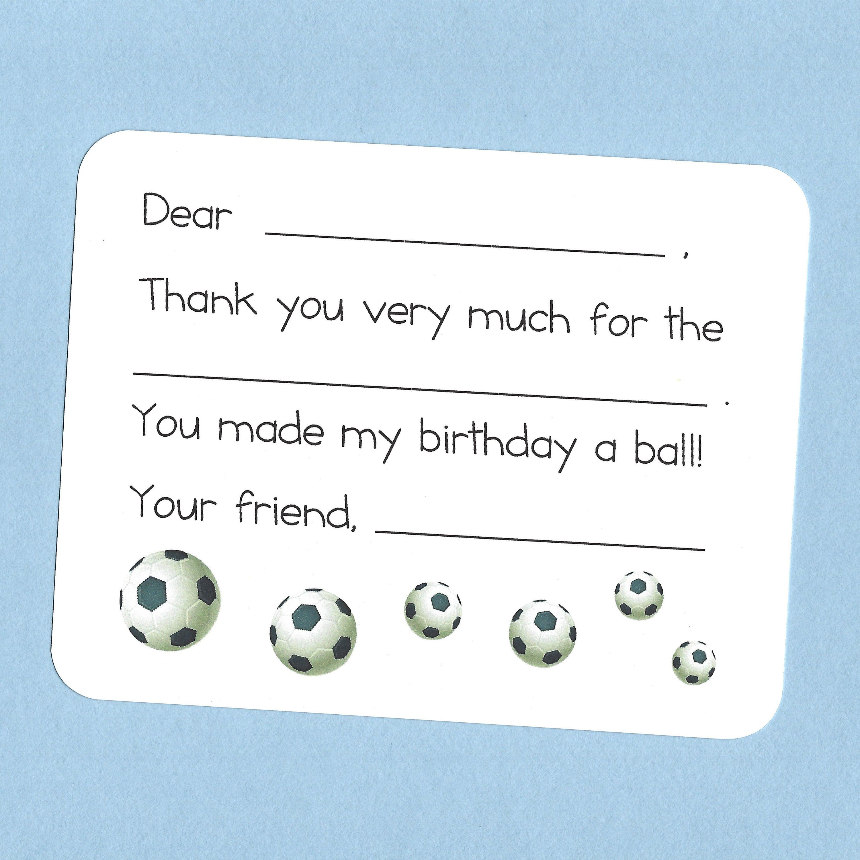 Soccer Balls Thank You Cards Fill In The Blank Cards