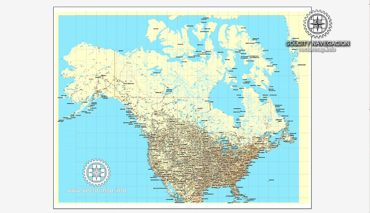 USA + Canada, printable vector Counrty Road map, GPS correct ...