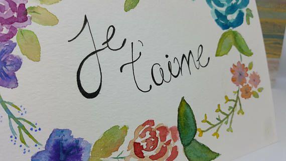 Carte aquarelle fleur Saint-Valentin / Amour