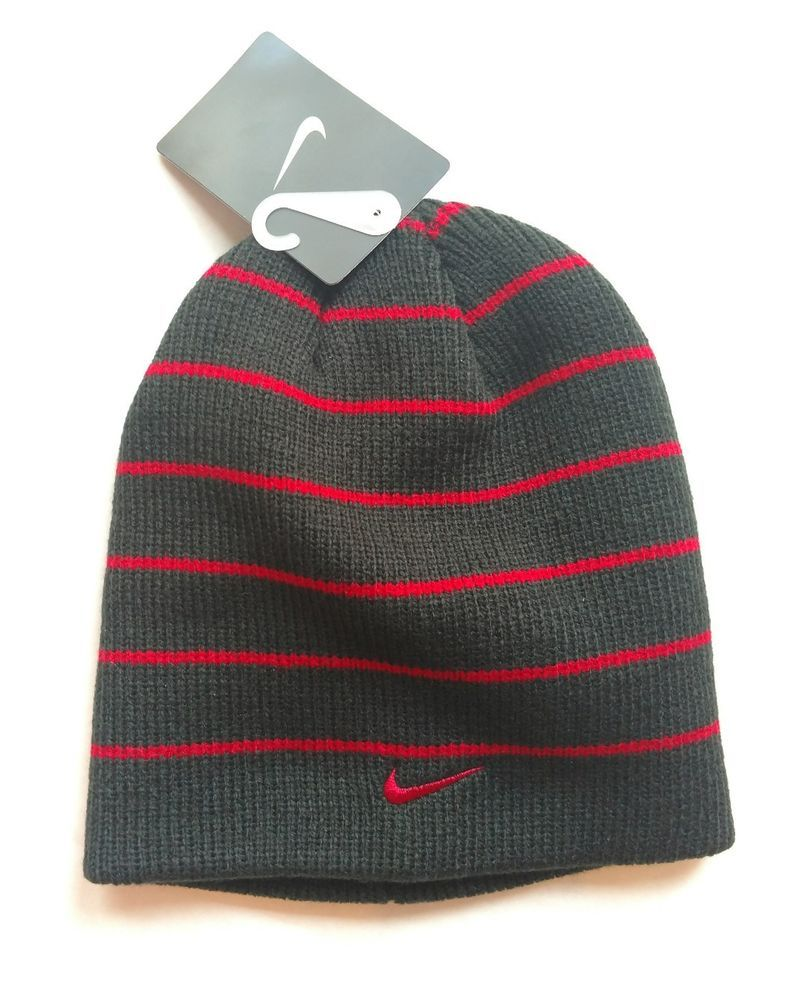 Nike Hat Boys Youth Beanie Striped Hat Size 8 20 Black Red  Nike  Beanie f8beed9d952