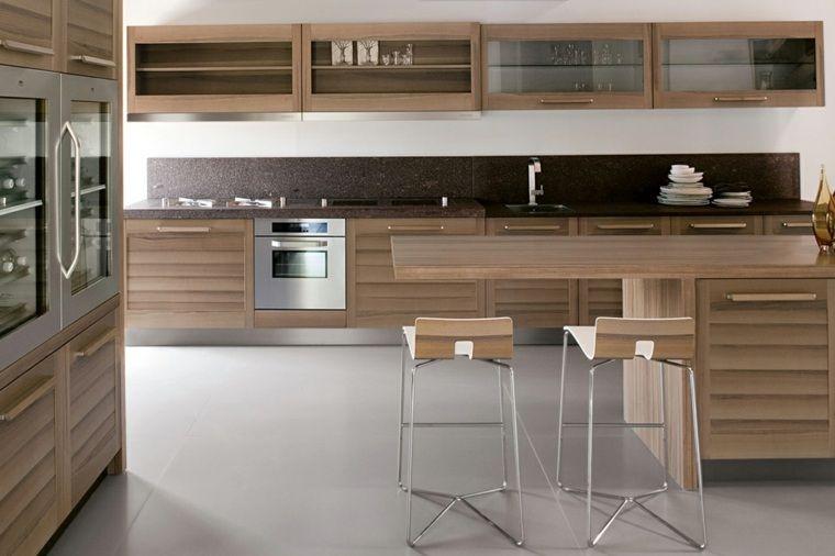Plan de travail cuisine moderne en pierre et bois - installation plan de travail cuisine