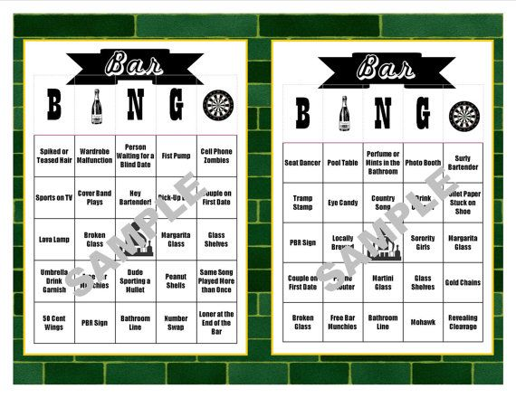 introducing our newest bingo game from the shop to celebrate you next barpub crawl bring these bingo cards with you there are 30 cards consisting of