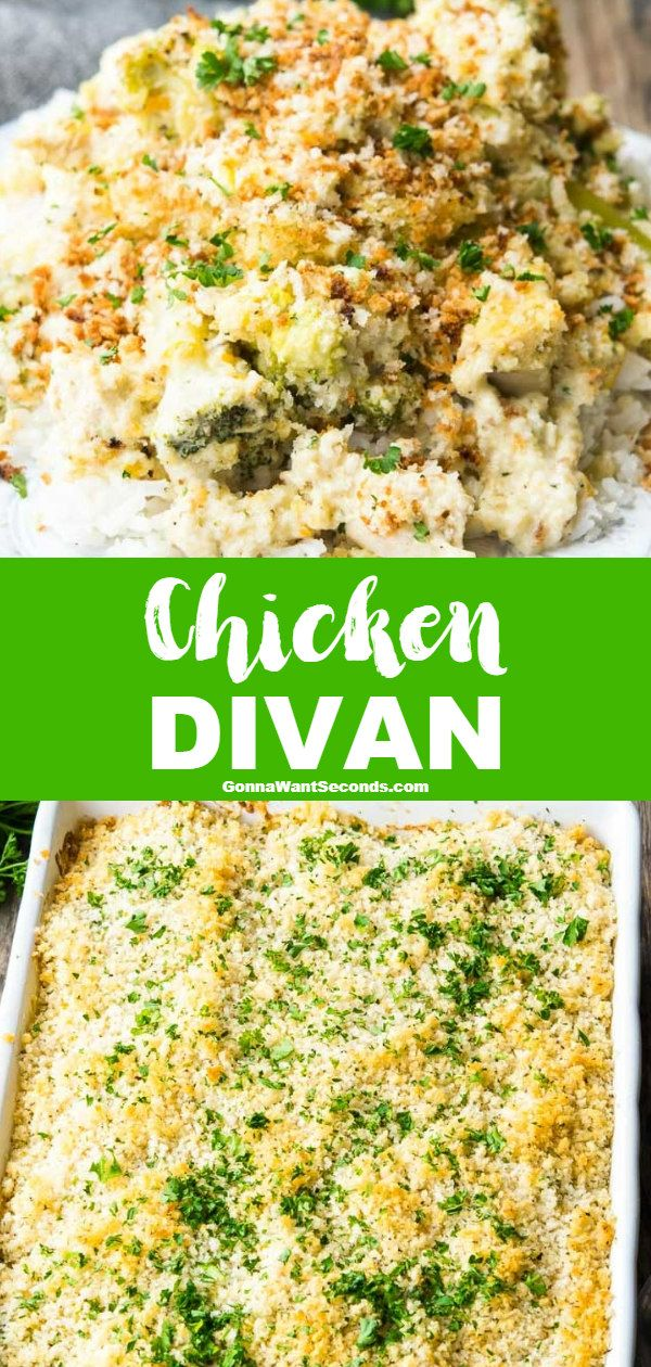 Chicken Divan NEW rich creamy casserole Chicken Divan is easy to prepare and store Packed with broccoli cheese and juicy chicken the dish can feed a small militia
