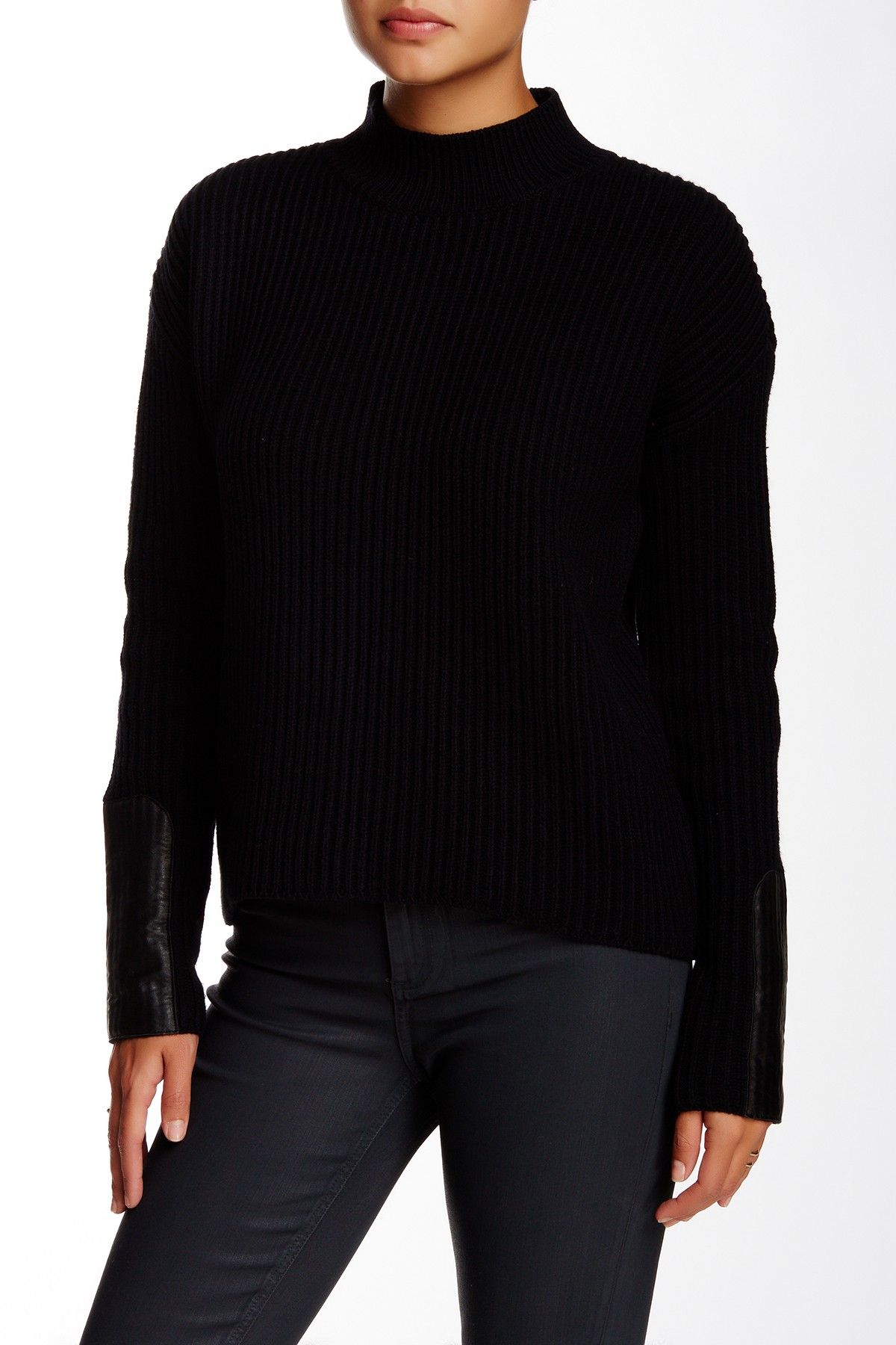 Leather Trim Mock Neck Sweater by Michael Stars on @nordstrom_rack