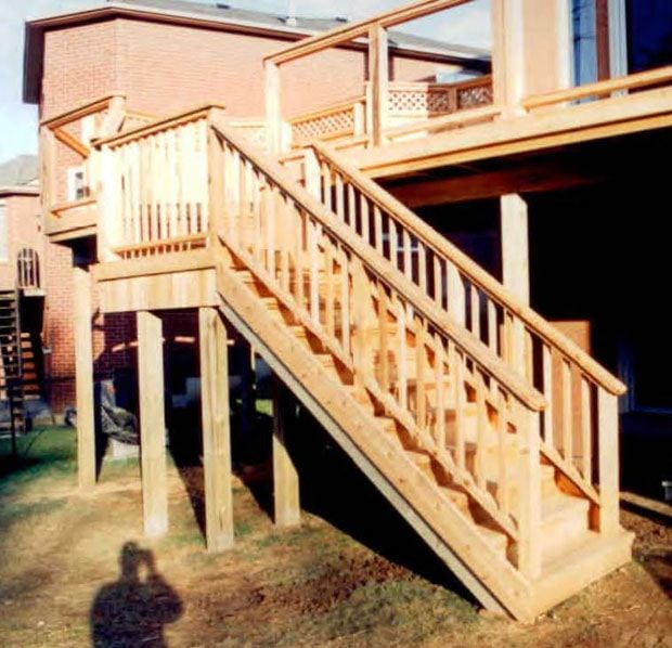 Captivating Stairs, With A Landing To Change Direction, From A High Deck.