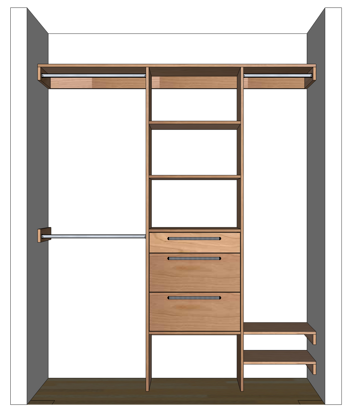 Free Woodworking Plans To Build A Custom Closet Organizer For Wide Reach In Closets Ca Closet Organizer Plans Closet Organization Diy Woodworking Projects Diy