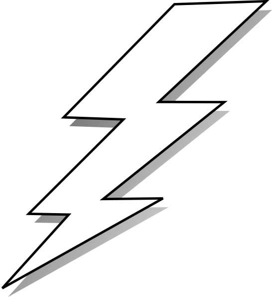 This coloring page for kids features a lightning bolt graphic that