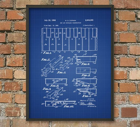 Piano Keys Patent Wall Art Poster by QuantumPrints on Etsy