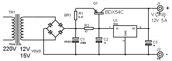 sabit basit 12volt 3 amper g u00fc u00e7 kayna u011f u0131 devresi